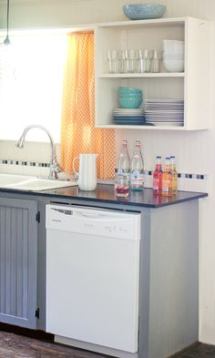 Blue grey lower cabinets - DIY kitchen makeover on a budget | the shabbycreek cottage