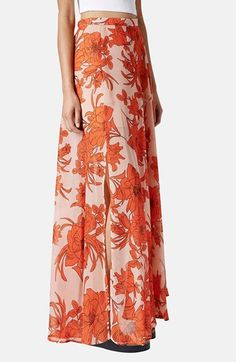 Orange Floral Topshop Print Maxi Skirt available at #Nordstrom
