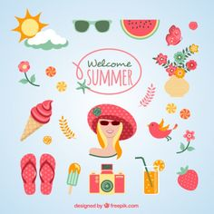 Welcome summer icons