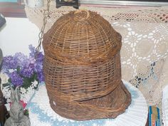 Different Bigger Wicker, Rattan  Basket by Daysgonebytreasures on Etsy