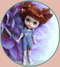 "Blythe doll dress / jumper for 12"" Blythe doll* checked* bow on back*"