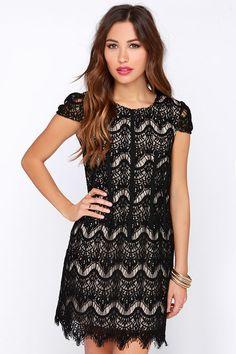 Soiree It Again Black Lace Dress at Lulus.com