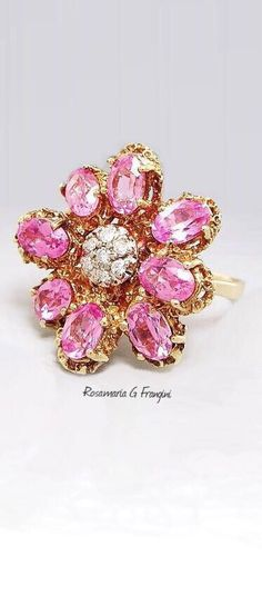 Rosamaria G Frangini | High Pink Jewellery | Ring of Pink sapphires with White Diamonds in a Gold Set.
