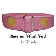 Plush Pink Denim with Lemon Stars  by LuigisFineDogCollars on Etsy