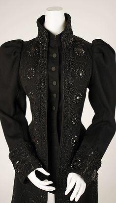 Black Jacket with black beading, wool, American, 1890's