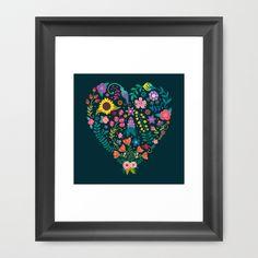 Floral Heart Framed Art Print by Anna Deegan - $33.00