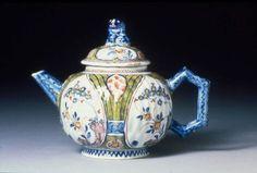 Tin glazed earthenware teapot with polychrome decoration, Dutch (Delft),circa 1725, The Netherlands