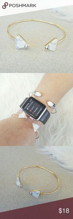 *LAST ONE* Triangular faux marble cuff bracelet - Adjustable cuff bracelet. Great quality item! Jewelry Bracelets