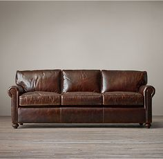 RH's Petite Lancaster Leather Sofa:Exceptionally luxurious, Lancaster features ultra-comfortable cushions and is available in rich, premium leathers. Our petite size collections are perfectly proportioned for smaller spaces.