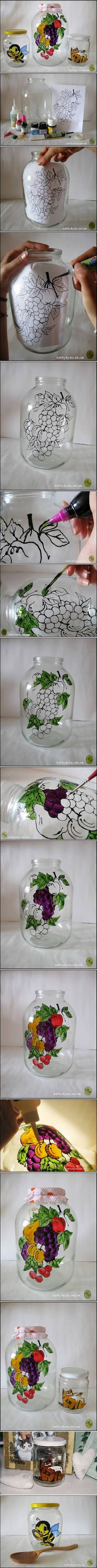 DIY Jar Painting Decor -- I really want some glass paint!!! But oh ANOTHER craft to get started on!!! :)