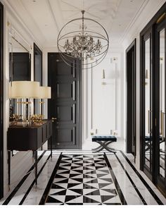 marble flooring And what is not to love about this gorgeous hallway From the geometrical design of the bamp;w marble floor, to the - Web 2020 Best Site Home Design, Flur Design, Home Interior Design, Interior Decorating, Interior Livingroom, Apartment Interior, Interior Styling, Classic Interior, Luxury Interior
