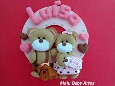 Enfeite Porta maternidade familia D urso | MALU BABY ARTES | 36D1C1 - Elo7