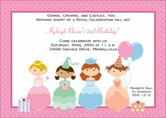 Kids Birthday Invitations-Princess Party KBI263