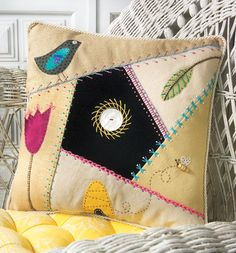 Crafts n' things Weekly - crazy quilt garden pillow