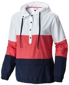 Go fly a kite in this water-resistant windbreaker with bold coloring and a drawcord-adjustable hood. Come wind and come rain, this relaxed fit pullover is lightweight and ready for action.