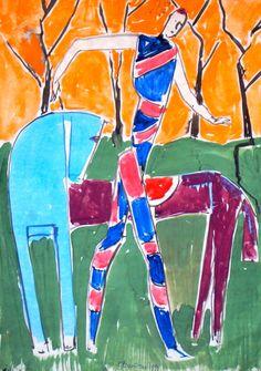 "Feigin, JOCKEY, paper, watercolor, 42 x 30 cm (16.5"" x 11.8""), 1992 Фейгин, ЖОКЕЙ, бумага , акварель, 42 х 30 см, 1992"