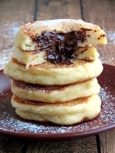 Cottage Cheese Pancakes With Chocolate Filling - I want to try this version without the chocolate...