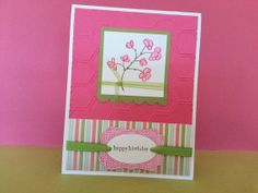 Birthday card Handmade flowers and stripes