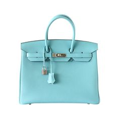 HERMES BIRKIN 35 Bag fresh tropical BLEU ATOLL Togo Palladium hardware | From a collection of rare vintage top handle bags at https://www.1stdibs.com/fashion/handbags-purses-bags/top-handle-bags/