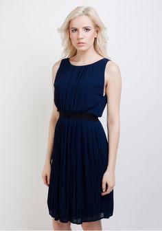 Vila, rochie cu pliuri, bleumarin cu negru