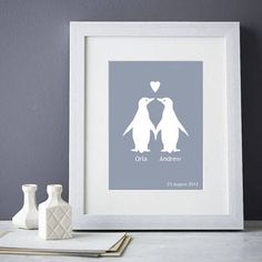 Personalised Penguins In Love Print - home accessories