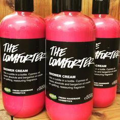 "The Comforter Shower Cream: ""Like a cuddle in a bottle. Cypress oil, cassis absolute and bergamot oil create an uplifting, reassuring fragrance"""