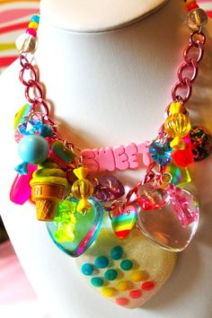 Sugar Shock Gummi Bears and Candy Dot Charm Necklace - Kitsch Kawaii - Candy Glam - Candy Charm Necklace - Gummi Bear Necklace