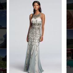 """Beautiful Grey/Silver Prom Dress! A stunning grey/silver/gunmetal accented prom dress. Perfect for any senior prom, homecoming or a special occasion. Only worn once, and in perfect condition! Minor stains and rips on the bottom that are only noticeable up close. Fits someone who is about 5'11"""", seeing as I am 5'8"""" and wore 3-4 inch heels. Never been altered. Always willing to negotiate. Adrianna Papell Dresses Prom"""