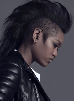 Inspiration for Tiana. Whenever she changes her hair it's nearly always some variation of a mohawk