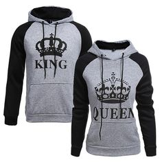 Women Men Couple Clothes Hoodie Coat King And Queen Print Hooded Sweater Bc