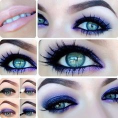 Purple eyeshadow techniques for green/hazel eyes. Need these colors in my kit.