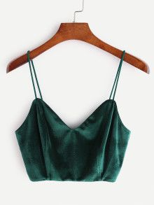Zip Back Velvet Cami Top