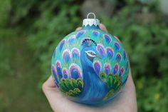 Glass Christmas Ornament Hand Painted Peacock by miniatureglass