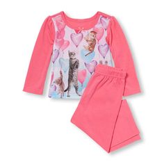 Baby And Toddler Girls Long Sleeve Balloon Kitties Top And Solid Pants PJ Set
