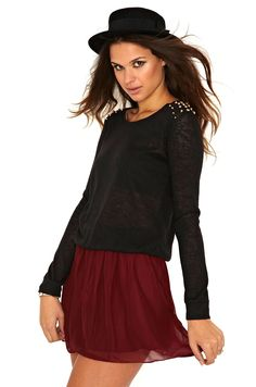 Davika Stud Shoulder Jumper In Black