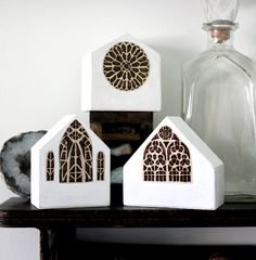 Handmade and wood-burned miniature wood house with patterned church window by Lauren Gray of Stone and Violet store