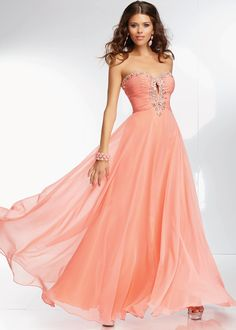 Mori Lee 95103 - Light Coral Strapless Chiffon Prom Dresses Online #thepromdresses