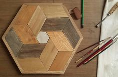 Wood Art Geometric Recycle