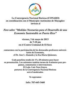 Foro: Medidas Necesarias para el Desarrollo de una Economía Sustentable en Puerto Rico @ Centro Comunal, El Seco, Mayagüez
