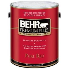 BEHR Premium Plus 1-Gal. Pure Red Hi-Gloss Enamel Interior/Exterior Paint-861001 at The Home Depot