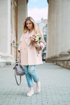 Blush pink oversized coat, boyfriend jeans