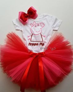 Pretty Peppa Pig Tutu Set Costume, Peppa Costume, Peppa Pig Birthday, Peppa Pig Tutu Set, Peppa Pig Outfit, Peppa Pig Theme, Peppa Pig Tutu Dress, Peppa Pig Dress, Peppa Pig Party