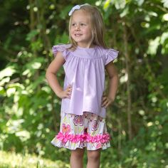 Lolly Wolly Doodle Lavender Flutter Shirt Floral Ruffle Short Set 6/21