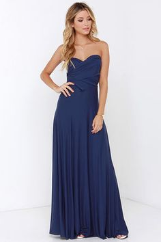Time is Right Midnight Blue Strapless Midi Dress | Tulle dress ...