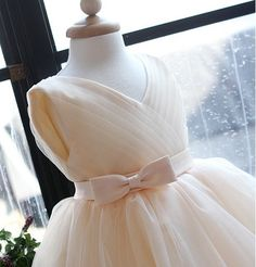 Flower girl dress Tulle V-neck Bridesmaid dress Ribbon point simple bridesmaid dress girl wedding gown wedding. $65.00, via Etsy.