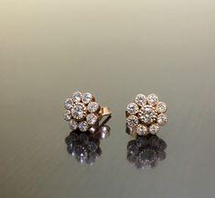 Rose Gold Diamond Earrings - Art Deco Rose Gold Diamond Stud Earrings - Halo Diamond Rose Gold E Jewelry Design Earrings, Gold Earrings Designs, Art Deco Earrings, Stud Earrings, Solitaire Earrings, Gold Jewellery, Ring Designs, Jewlery, Diamond Earrings Indian