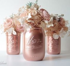 awesome pink copper mason jar decor ...