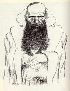 Fëdor Dostoevskij by Tullio Pericoli  ~Via Uwe Schlemmermeyer