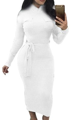 Sorrica Womens Turtleneck Ribbed Bodycon Stretchy Pencil Sweater Dress with Belt Skinny Belt, Pencil, High Neck Dress, Bodycon Dress, Dresses For Work, Turtle Neck, Long Sleeve, Sleeves, Sweaters