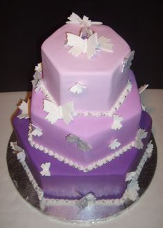 Purple Butterfly Wedding cake ... color's not right for me ... but love the shape